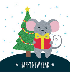 New year greeting card with cute mouse vector