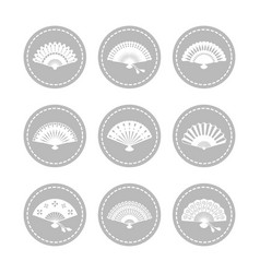 oriental japanese hand fans icons vector image