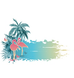 Palms and pink flamingo vector