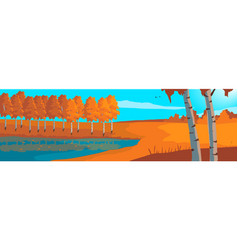 Panoramic landscape autumn birch grove and blue vector