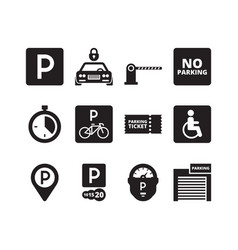 parking icon transportation silhouette symbols vector image