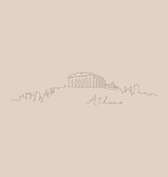 pen line silhouette athens beige vector image