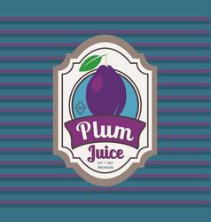 plum juice retro fruit label vector image