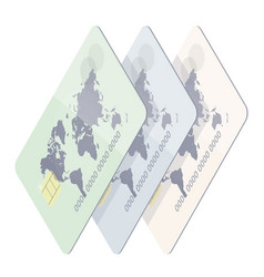 realistic credit card with world map vector image