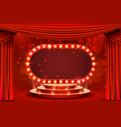 Red frame retro scene podium blank showtime vector