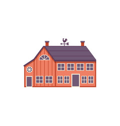 Red wooden farm barn in flat style isolated on vector