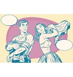 Retro man and woman in morning wearing clothes vector