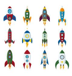 retro space rocket ship icon set in a flat vector image