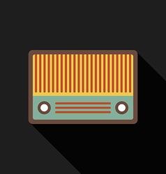 Retro vintage radio flat design isolated icon vector image