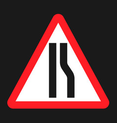 Road narrows ahead sign flat icon vector