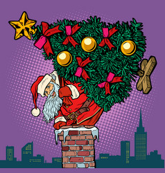 santa claus with a christmas tree climbs the vector image