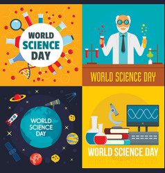 science day banner set flat style vector image