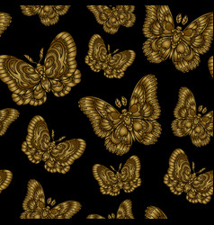 seamless pattern with gold butteflies on black vector image