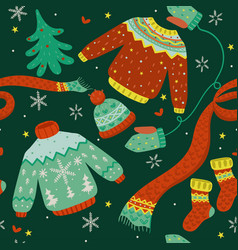 seamless pattern with winter clothes vector image