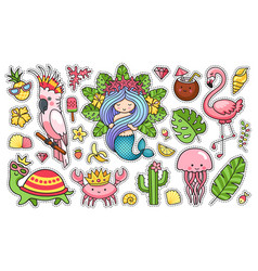 set cartoon characters creatures mermaid vector image