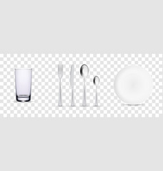 set cutlery fork spoon knife and plate vector image