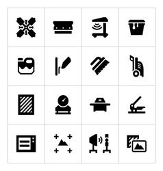 Set icons screen printing vector