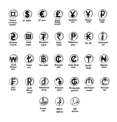 set of basic symbols of the world currency vector image