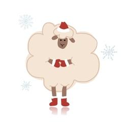 Sheep santa symbol of new year 2015 vector image