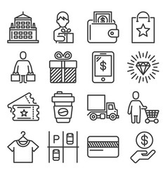shopping mall icons set on white background vector image