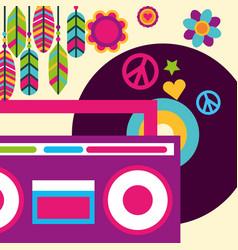 Stereo radio vinyl music feather flowers hippie vector