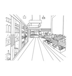 Supermarket interior hand drawn black and white vector