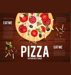 tasty pizza with tomato wurst olive mushrumes vector image