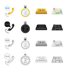 taxi call telephone and other web icon in vector image