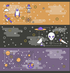 Thin line art space web banner template set vector