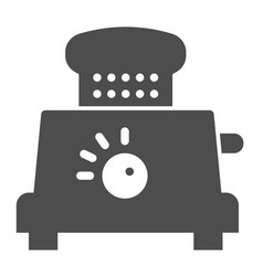 Toaster with bread solid icon electrical vector