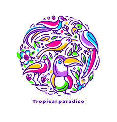 tropical card exotic bird flower in circle symbol vector image