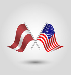 Two crossed latvian and american flags vector