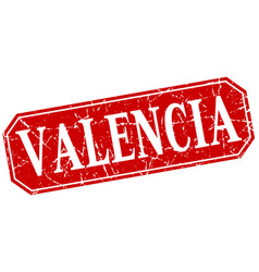 valencia red square grunge retro style sign vector image