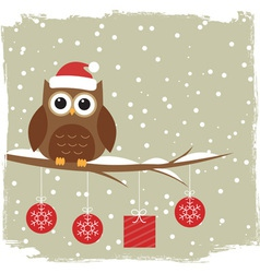 Winter card with cute owl vector image