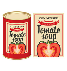 With tin can of tomato soup and label vector