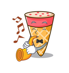 With trumpet ice cream tone mascot cartoon vector