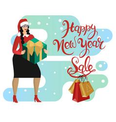 woman in santa hat buys gifts in season of vector image
