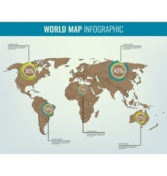World map with infographic elements All countries vector