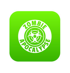 Zombie infection icon green vector