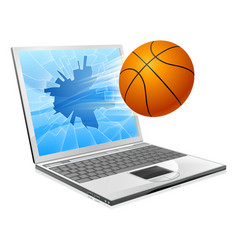 Basketball ball laptop concept vector