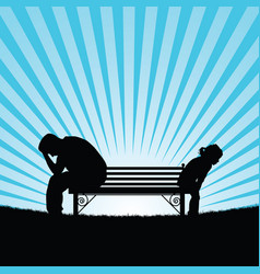 Child and man silhouette on bench vector