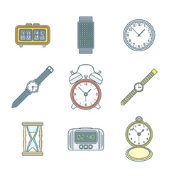 colored outline various watches clocks icons set vector image