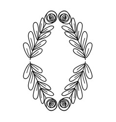 Figure rose with leaves branches plant vector