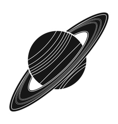 Saturn icon in black style isolated on white vector image