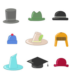cartoon hats collection hats and bowlers vector image
