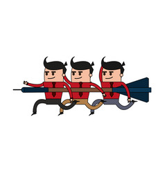 color image cartoon teamwork holding arrow to vector image