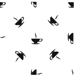 cup of tea pattern seamless black vector image vector image