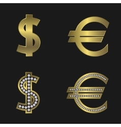 Dollar and euro signs vector image vector image