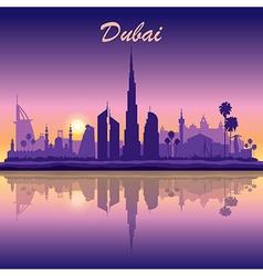 Dubai skyline silhouette on sunset background vector image vector image