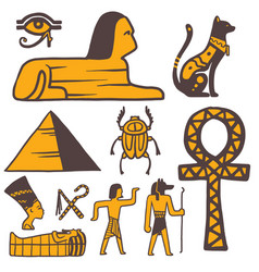 Egypt travel history sybols hand drawn design vector